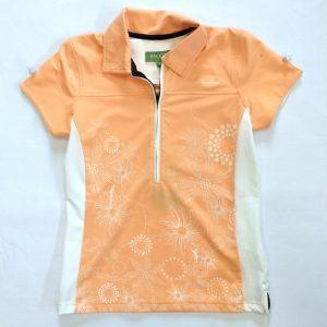 Backtee Poloshirt apricot/weiß Damen
