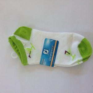 Footjoy Damen ComfortSof Strümpfe - weiß und lime grün mit muster