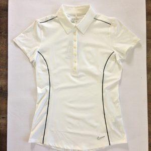 Nike Dry-Fit Damen Poloshirt - Weiß mit graue streifen a7d3dda5c7