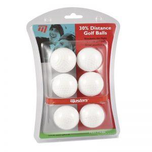 Masters 30% Distance Golf Balls Trainingsbälle aus Kunststoff weiß 6 Stück
