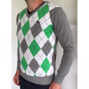 Cross Men's Rewind V-Neck weiß/grau/grün Pullover