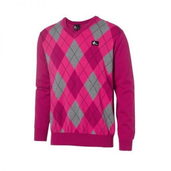Cross Men's Rewind V-Neck pink/grau Pullover