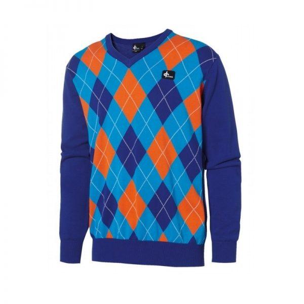 Cross Men's Rewind V-Neck blau/orange Pullover